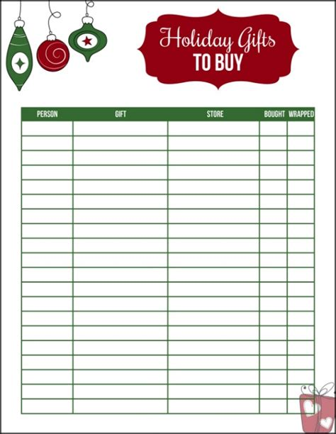 printable christmas gift list hoosier homemade