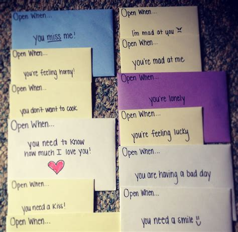"""When you're in a long distance relationship, open when letters or open when cards are one of the nicest things you can do for your long distance love! """"Open When"""" cards.. Such a cute idea for a birthday, wedding, anniversary! 