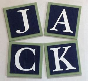 baby boy nursery name blocks wall letters room decor 6 x 6 With navy blue letters for nursery