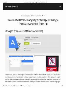 Download Offline Language Package Google Translate With Pc