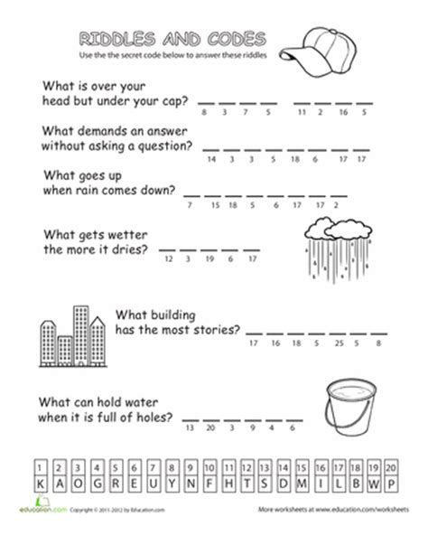 riddles  codes  kids riddles printable puzzles