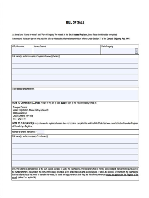 Buying A Boat Bill Of Sale by 6 Boat Bill Of Sale Form Sle Free Sle Exle