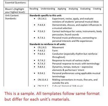 kindergarten performancemusical unit lesson plan template
