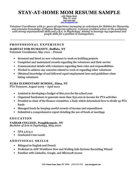 Chronological Resume For Stay At Home by What To Do After Being A Stay At Home Small House
