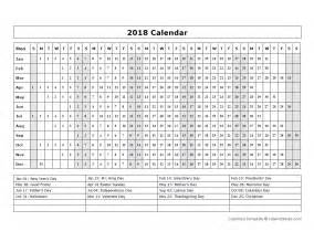 calendar template year   glance  printable