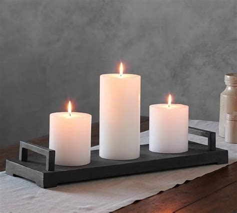 gray rectangle candle tray