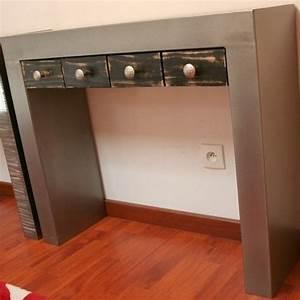 Console Meuble But : console acier brut 3 tiroirs noir console tiroir ~ Teatrodelosmanantiales.com Idées de Décoration