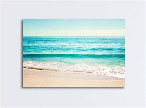 beachy bathroom ideas canvas gallery wrap large landscape wall aqua blue print teal turquoise