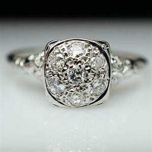 vintage cluster engagement rings wedding promise With vintage diamond wedding ring