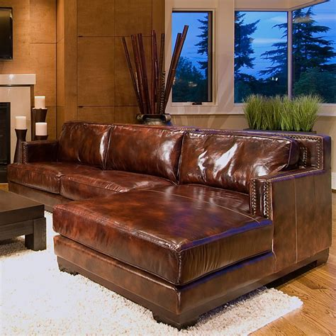 leather chaise saddle davis brown couch sectionals less dcg 2489 stores section