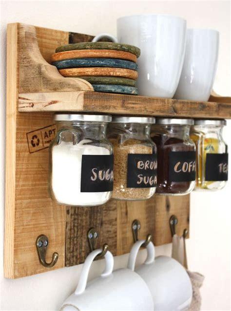 Mensole Cucina Legno mensola da cucina con barattoli legno di riuso 40x45x15