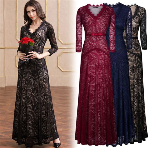 Womens Formal Cocktail Evening Party Floral Lace Wedding