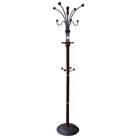 traditional wood and chrome metal coat rack hall tree