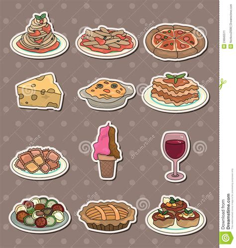 cuisine stickers italy food stickers stock image image 24845511