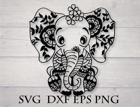 Our cut files comes with svg, dxf, png & eps files, and they are compatible with cricut, cameo silhouette studio and. Baby elephant svg mandala animal svg   Etsy