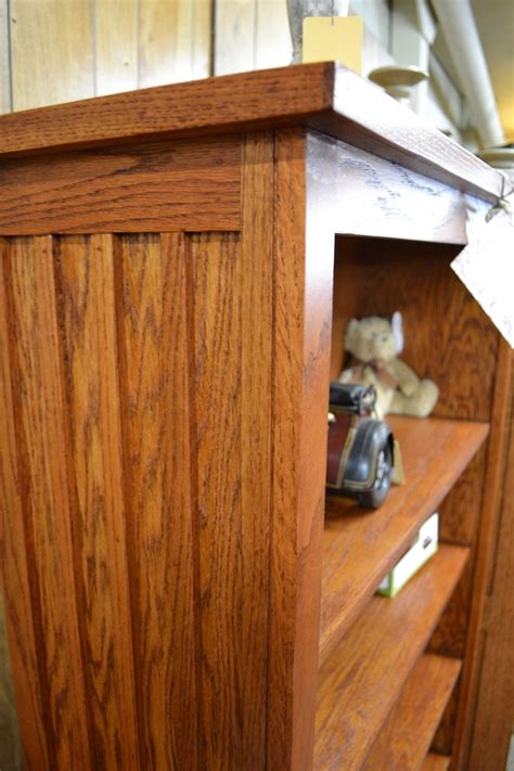 detail of a mission or craftsman style woodwork dresser