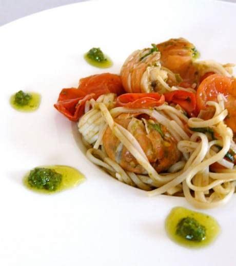 cuisine cerise cuisine spaghettis aux langoustines tomates cerise et pesto