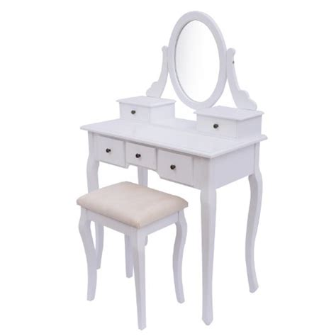 Cheap Dressing Tables With Mirror And Stool Homcom Antique Style Shabby Chic Dressing Table With