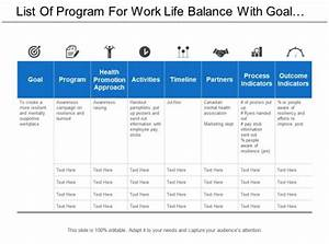 List Of Program For Work Life Balance With Goal And
