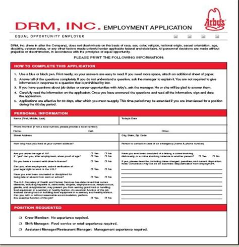 applications cuisine arby s application employment form