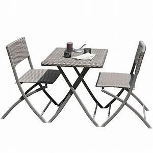 Table Et Chaise Balcon : ensemble de jardin dcb garden 1 gu ridon 2 chaises gris ~ Teatrodelosmanantiales.com Idées de Décoration