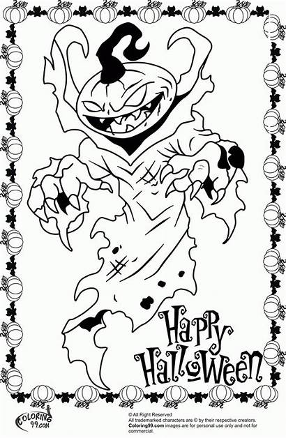 Halloween Coloring Scary Pages Monster Pumpkin Printable