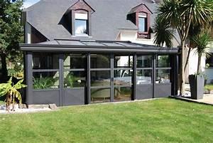 veranda aluminium de style industriel realisation With nice amenagement de piscine exterieur 6 terrasse couverte vieux bois