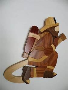Firefighter Intarsia Woodwork Handmade by hazzwoodwork on