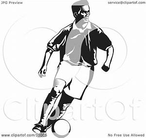 Clipart Illustration of a Black And White Soccer Player ...