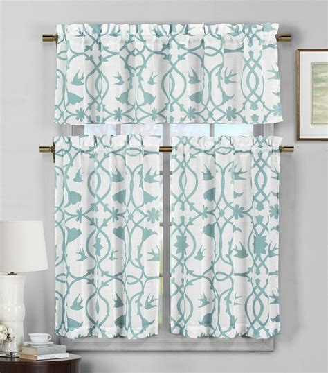 3 semi sheer window curtain set teal blue and white