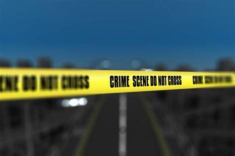 render   crime scene tape  blurred city