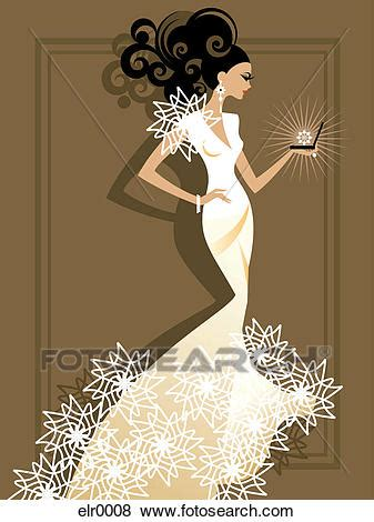 stock illustration   bride opening  sparkling jewelry