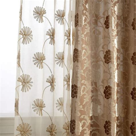 elegant tan dandelion embroidered sheer curtains