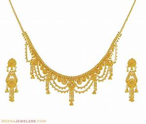 Indian Gold Necklace Set - StLs8775 - 22K Yellow Gold ...