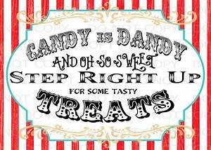 Printable DIY Vintage Circus Candy Treat Table sign or Thank