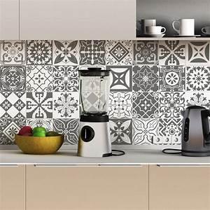 Carreaux De Ciment Autocollant : 30 stickers carreaux de ciment nuances de gris varsovie ~ Premium-room.com Idées de Décoration