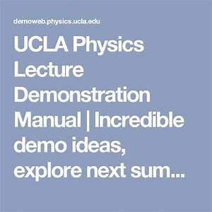 Ucla Physics Lecture Demonstration Manual