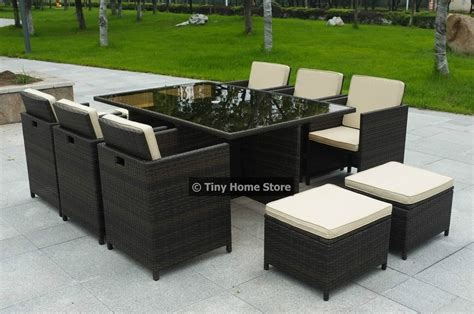 luxury cube rattan dining set garden furniture patio