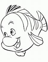 Coloring Flounder Mermaid Popular sketch template
