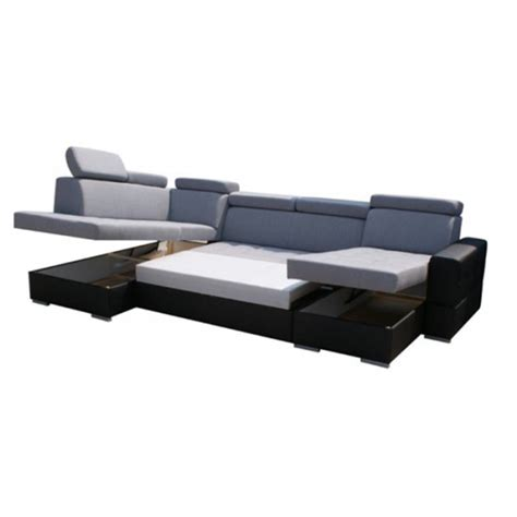 canape convertible en u canap 233 d angle en u convertible softy avec coffre de rangement et lit gris et noir moderne