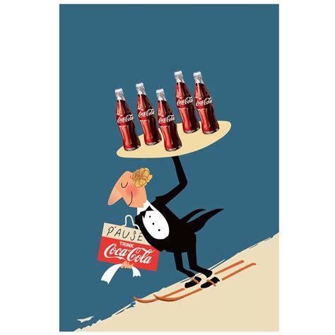 coca cola ski waiter vintage poster hardtofind