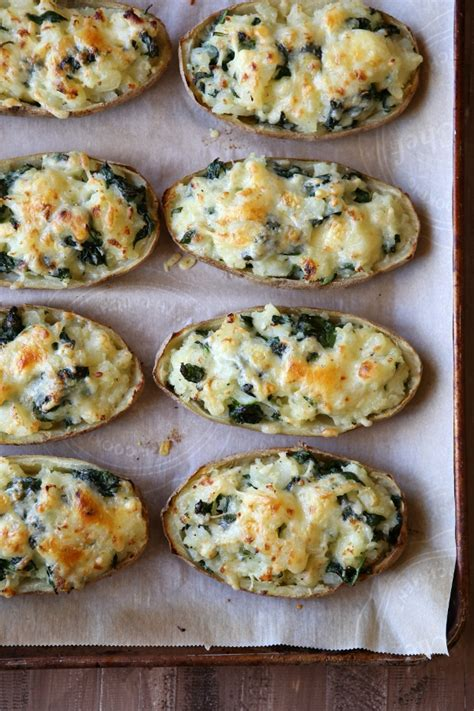 spinach  cheddar  baked potatoes completely