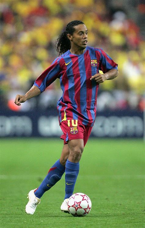 Ronaldinho of Barcelona in action during the UEFA ...