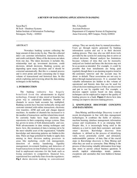 (PDF) A REVIEW OF DATA MINING APPLICATIONS IN BANKING