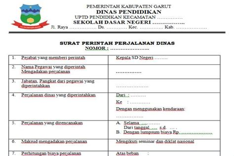 Surat Perjalanan Dinas by Sppd Surat Perintah Perjalanan Dinas Kepala Sekolah