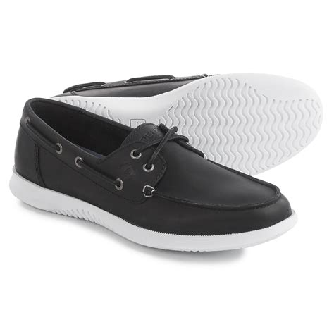Black Boat Shoes by Sperry Defender 2 Eye Boat Shoes For