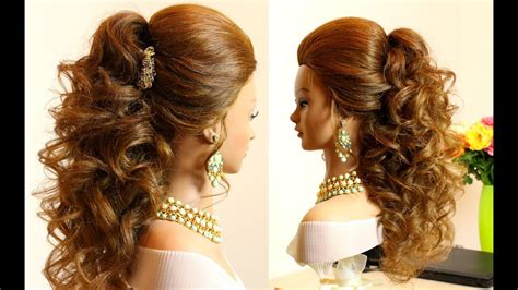 curly bridal hairstyle  long hair tutorial youtube