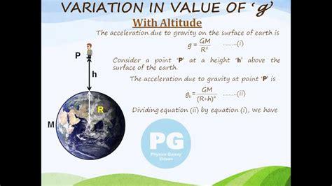 variation  acceleration due  gravity  altitude ga
