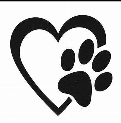 Dog Paw Decal Heart Motorcycle Pet Laptop
