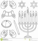 Coloring Judaism Clipart Elements Kippa Template Yarmulke Jewish Torah Pages Symbols Scroll Star Di Menorah Elementi David Pointer Dreamstime sketch template